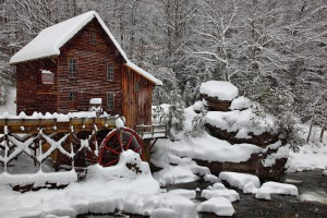 source: http://commons.wikimedia.org/wiki/File:Winter-snow-falling-glade-creek-gristmill-picture-postcard-pub1_-_West_Virginia_-_ForestWander.jpg?uselang=en-ca